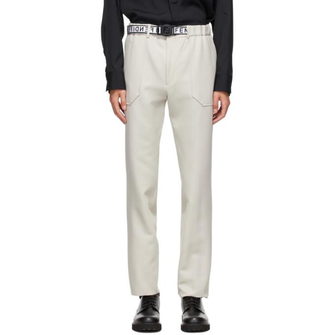 Fendi 灰白色束带长裤