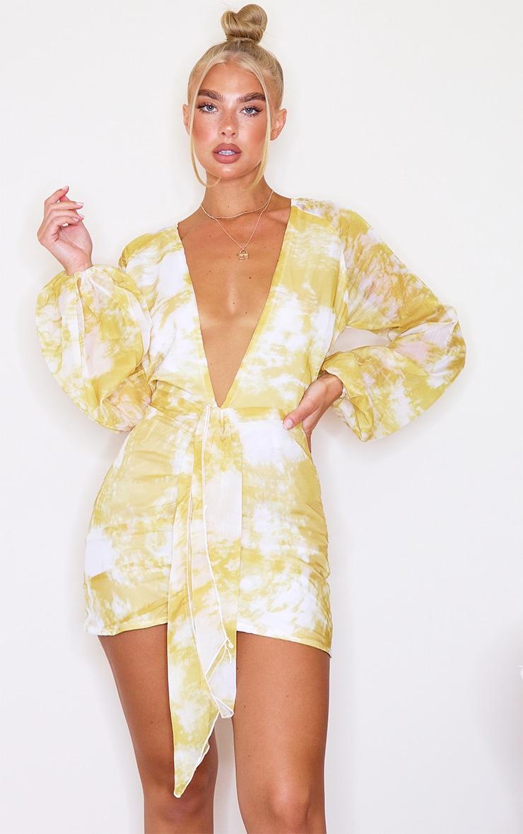 Chartreuse Tie Dye Chiffon Long Sleeve Bodycon Dress