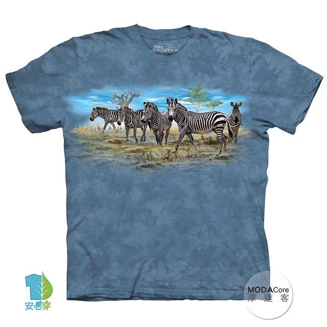 【摩達客】(現貨)美國進口The Mountain 斑馬群聚 純棉環保藝術中性短袖T恤