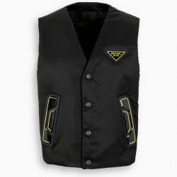 Prada Black and yellow nylon waistcoat