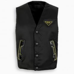 Prada Black and yellow nylon waistcoat