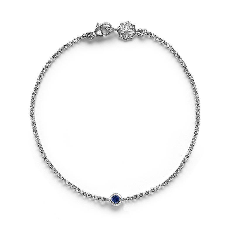 Single Blue Sapphire Twinkle Chain Bracelet