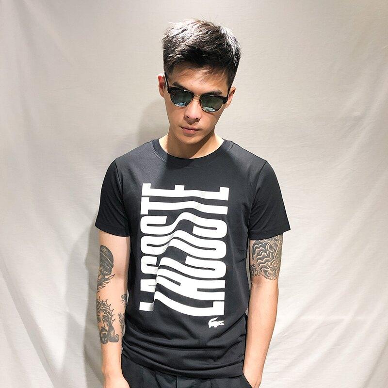 美國百分百【全新真品】Lacoste 鱷魚 T恤 T-SHIRT 短袖 短T 上衣 圓領 logo 黑色 S號 AH01