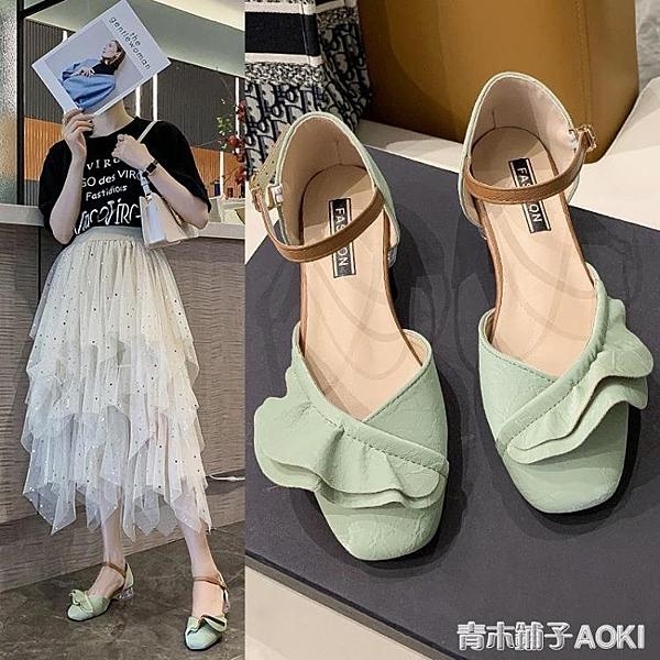 搭配裙子的涼鞋女仙女風年新款夏蝴蝶結粗跟包頭學生時尚單鞋 青木鋪子