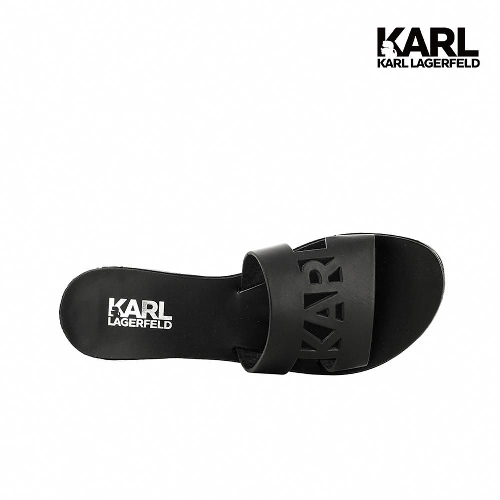限時搶購★【KARL LAGERFELD】SKOOT KARL鏤空真皮拖鞋-黑
