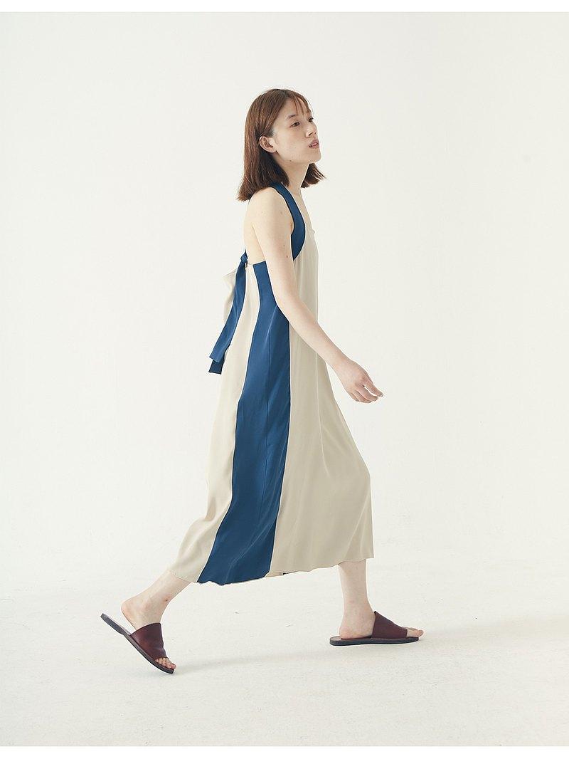 muterumours啞謎 日本強捻面料寬肩帶可調節拼色背帶裙 不易皺