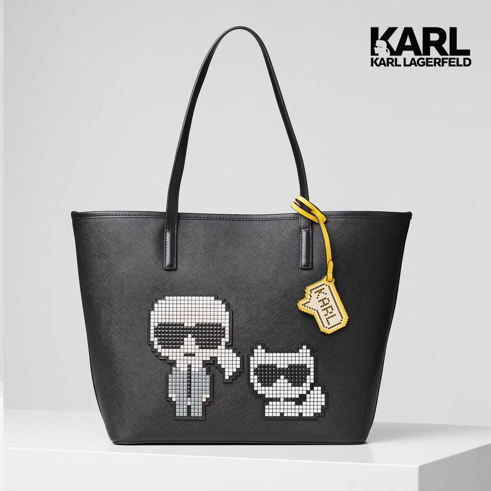 【KARL LAGERFELD】數碼IKONIK&CHOUPETTE托特包-黑