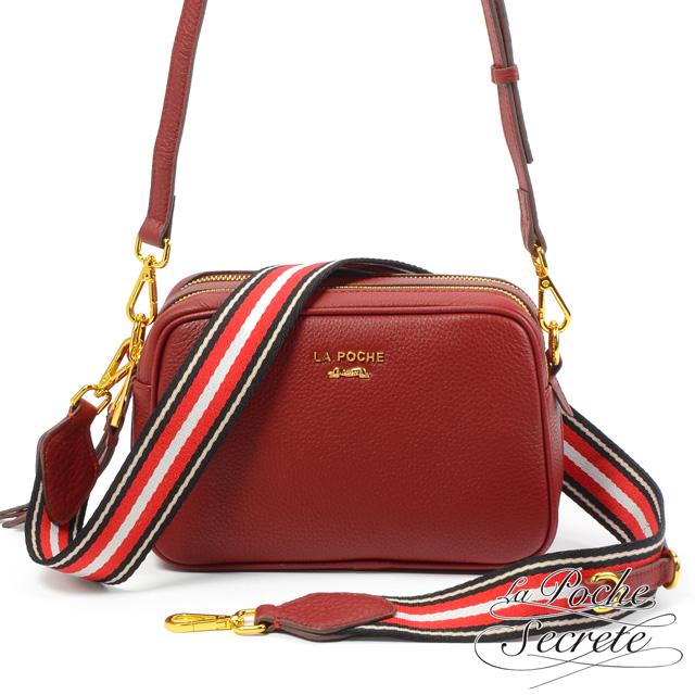 La Poche Secrete側背包 簡約真皮雙拉鍊織帶2WAY側斜背相機包-酒紅色
