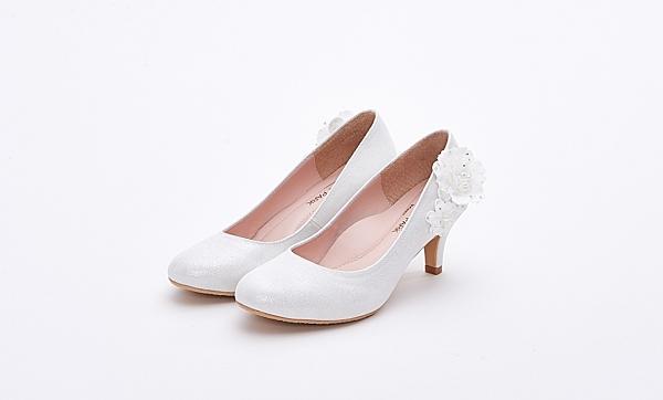 MICHELLE PARK 優雅細緻立體珍珠花紗中低跟婚鞋伴娘鞋-白