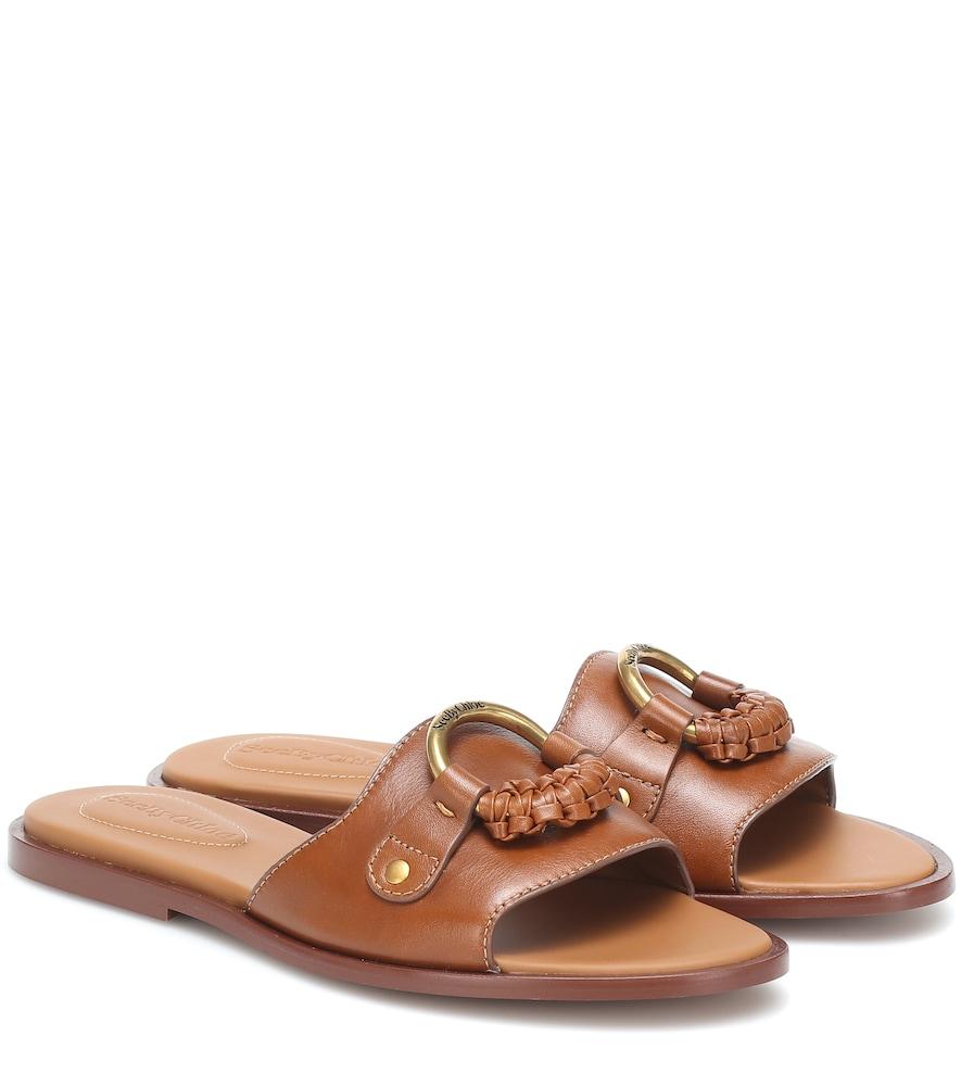 Hana leather slides