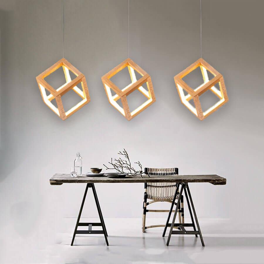 永光台灣製 3吊燈 led 內附108w 黃光 木製品 全電壓 鐵烤漆 櫸木 餐廳吧檯 菱格方塊