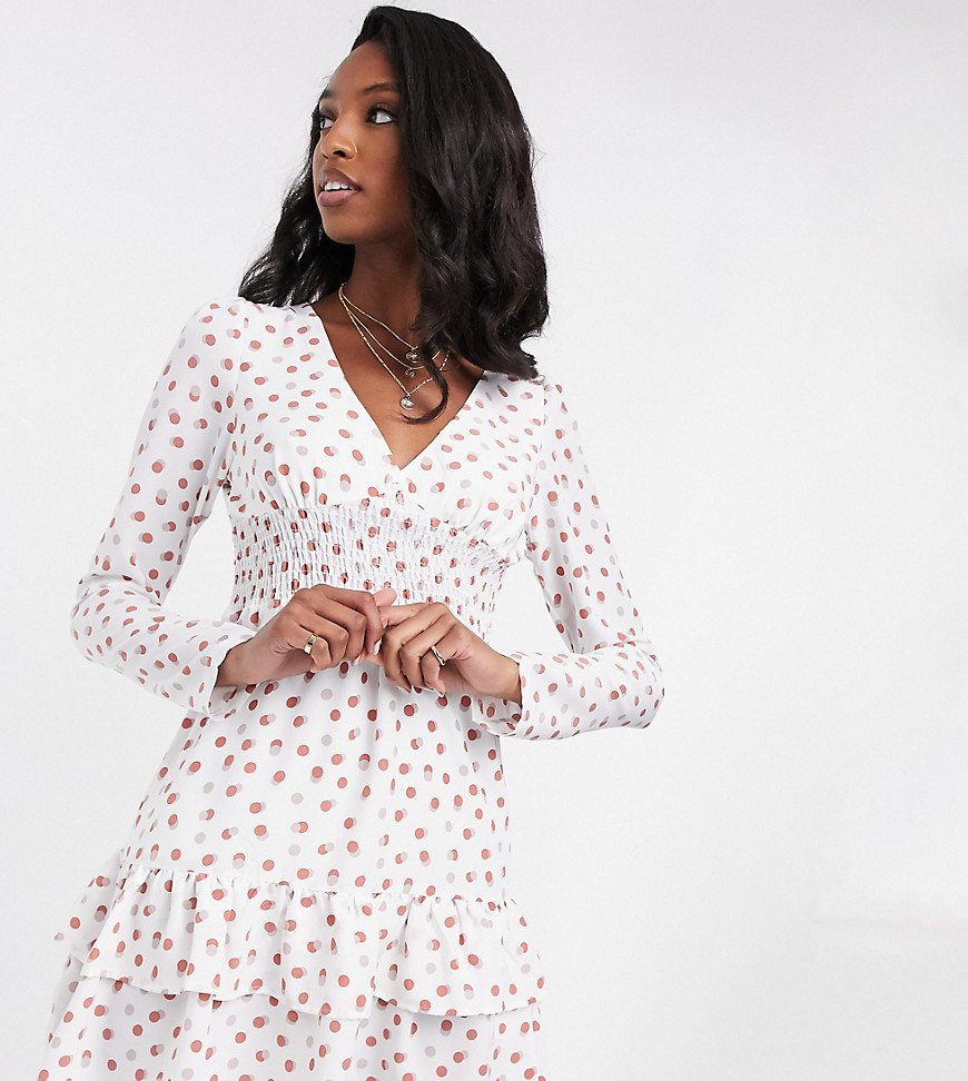 Fashion Union Tall mini dress with puff sleeves and frill hem in polka dots-White