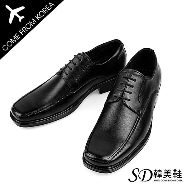 男鞋 韓國空運 復古方頭縫線拼接設計款 質感皮革綁帶 紳士皮鞋德比鞋【F730382】SD韓美鞋