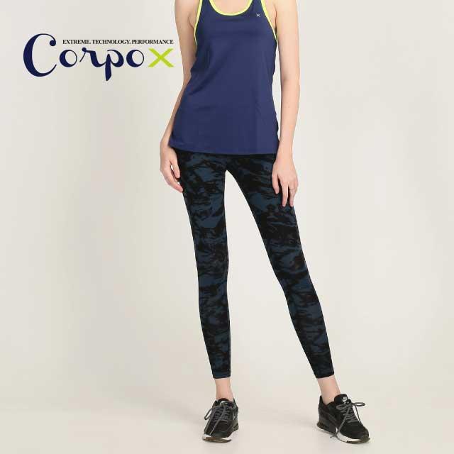 【Corpo X】女款收腹強膝加固顯瘦壓力褲(印花款)-深藍色/藍灰色