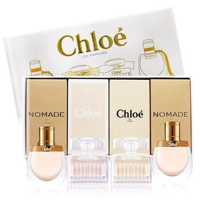 Chloe 經典香水四入禮盒[同名+白玫瑰+芳心之旅](5mlX4)-國際航空版