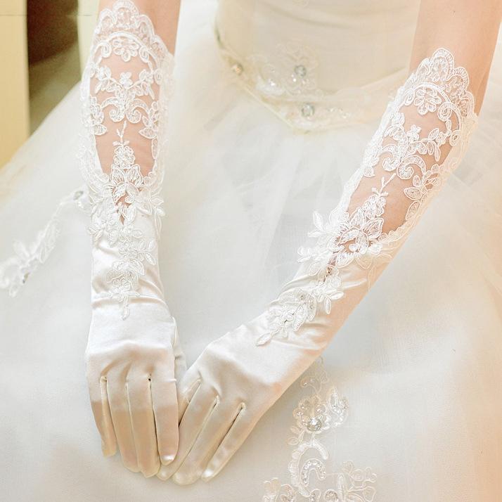 新款 婚紗 手套 蕾絲 長款 白色 韓版 禮服 長手套 禮儀 新娘 手套