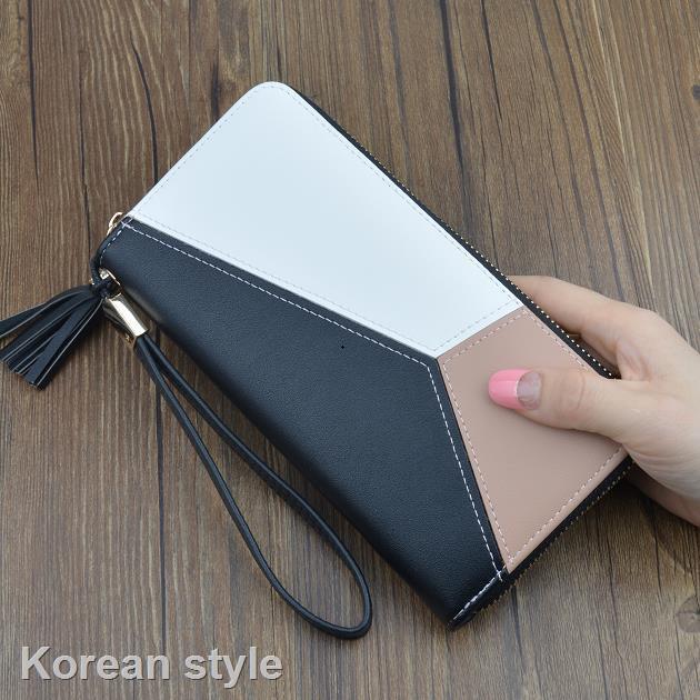 【特價】新款手提錢包女士長款拉鏈學生錢夾韓版流蘇拼色大容量手拿手機包