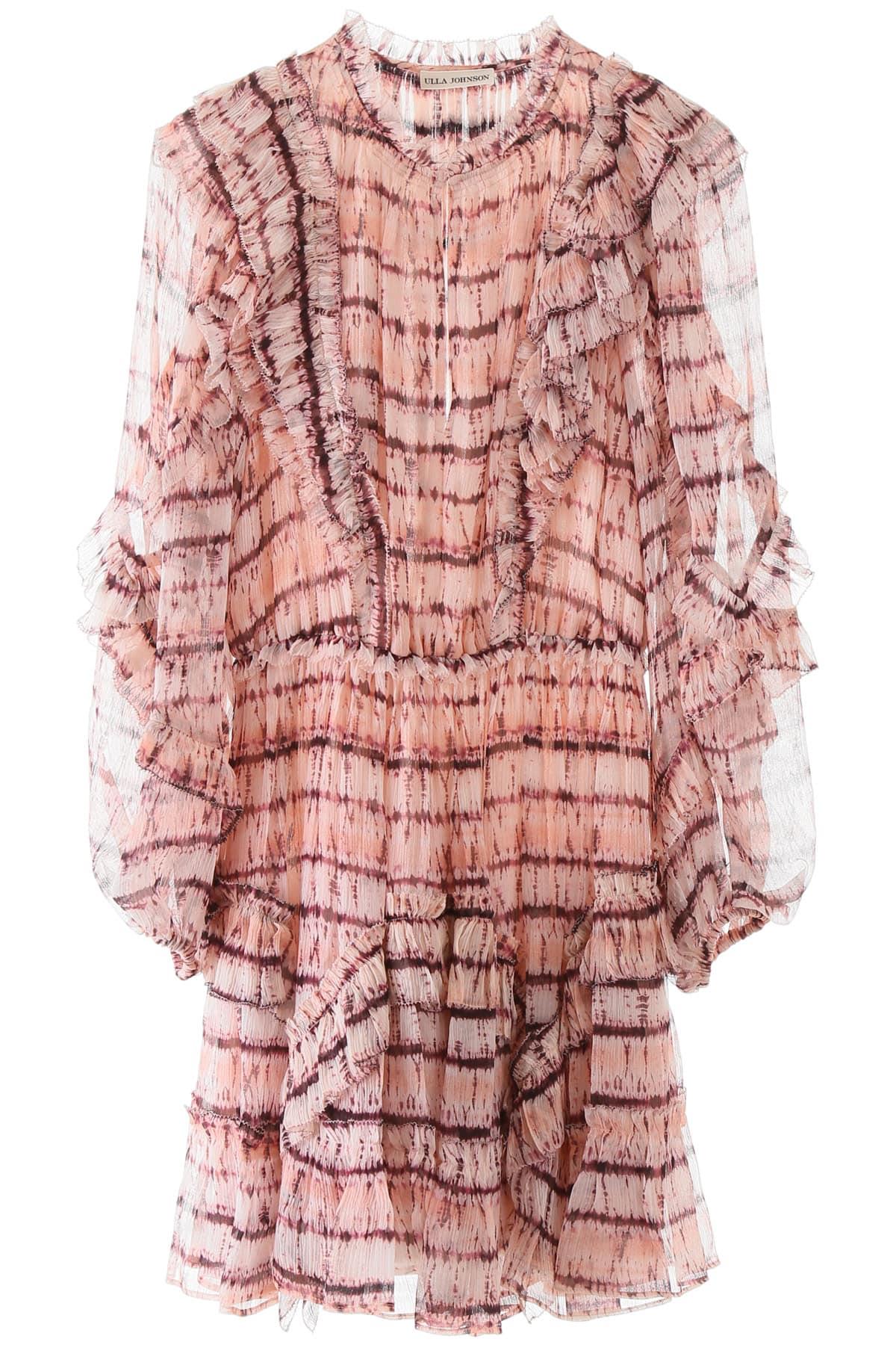 ULLA JOHNSON ABERDEEN TIE-DYE DRESS 4 Pink Silk