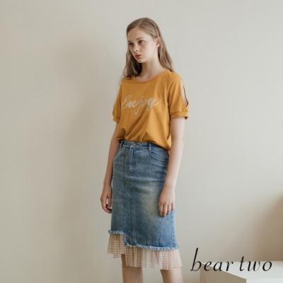 beartwo- 格紋網紗拼接下擺牛仔裙-兩色
