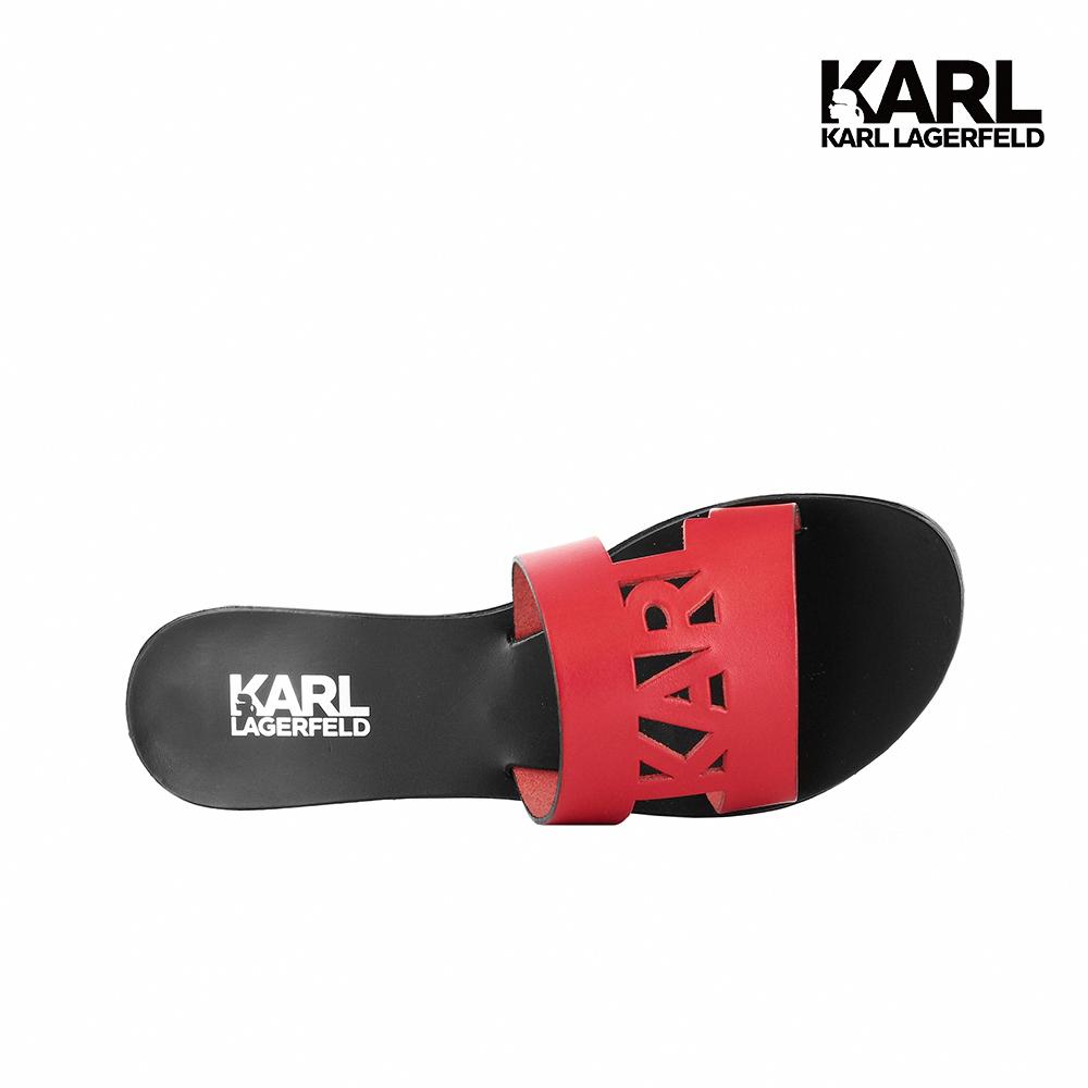 限時搶購★【KARL LAGERFELD】SKOOT KARL鏤空真皮拖鞋-紅