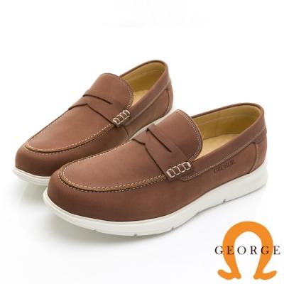 【GEORGE 喬治皮鞋】輕量系列 超輕真皮素面帆船鞋-棕色