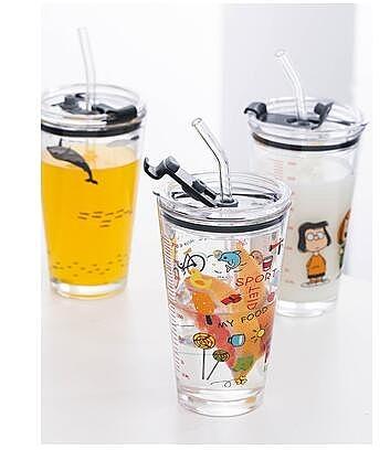 刻度玻璃杯吸管喝水杯子創意耐熱大容量大人水果茶杯女可愛ins風 陽光好物