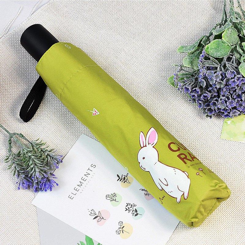 雙龍牌好奇兔降溫13度黑膠自動傘自動開收傘抗UV晴雨傘(抹茶綠)