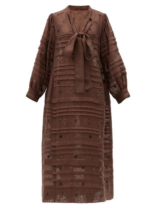 Vita Kin - Constellation Embroidered Linen Midi Dress - Womens - Brown