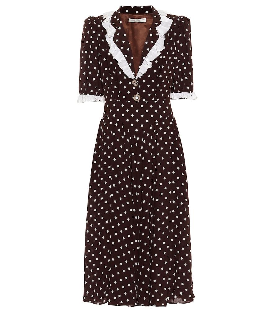 Polka-dot silk midi dress