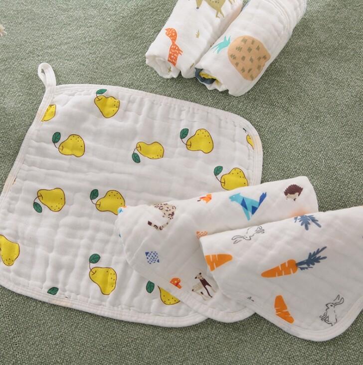 高密度紗布巾六層紗紗布巾水洗印花方巾 嬰幼兒圍兜 新生兒口水巾 純棉寶寶口水巾 圍兜 方巾 手帕
