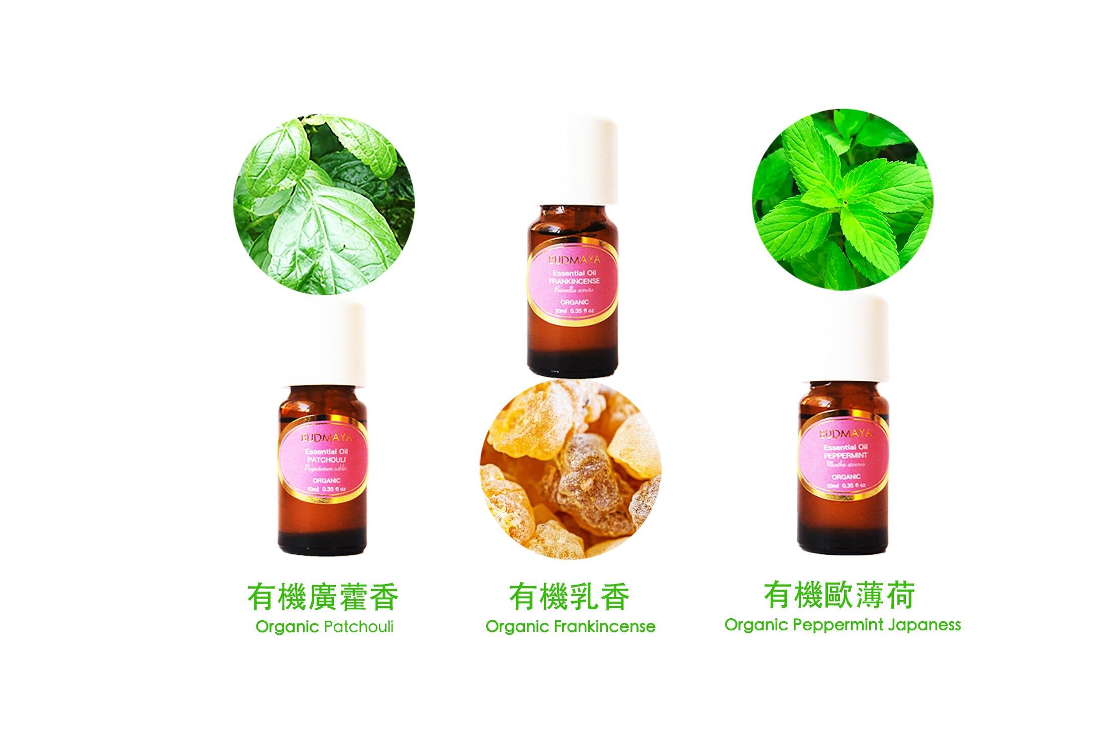 BUDMAYA OM系列有機精油香氛禮盒 - C SET (6入裝)有機乳香/有機廣藿香/有機歐薄荷  美國有機USDA認證  免運