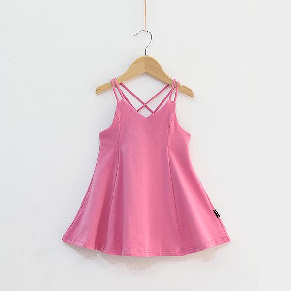 女童洋裝 超洋氣女童連衣裙潮小寶寶夏季裙子兒童露背沙灘吊帶裙純棉背心裙