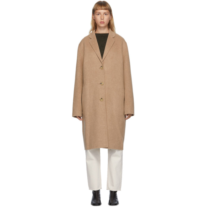 Acne Studios 黄褐色羊毛单排扣大衣