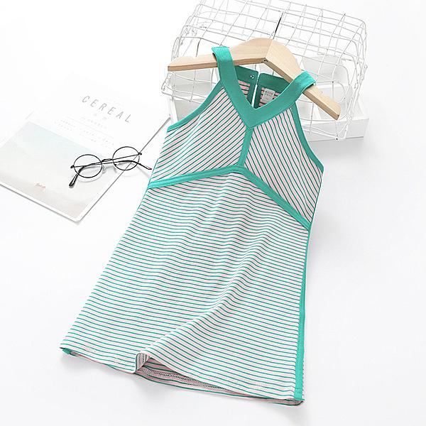 女童洋裝 童裝女童吊帶連衣裙夏裝2020新款韓版條紋小女孩洋氣兒童純棉裙子