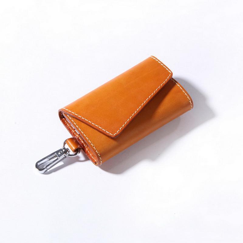 斜背兩卡真皮鑰匙包-駝色