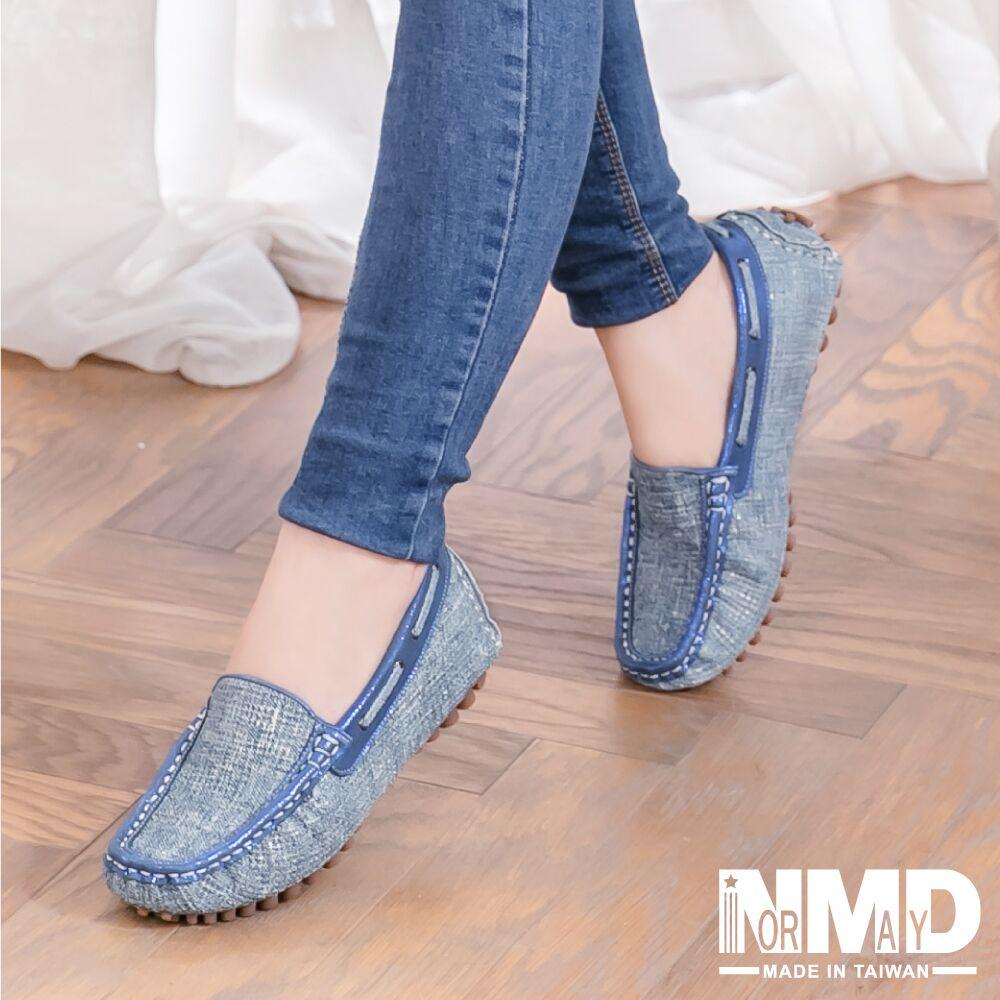【Normady 諾曼地】韓系磨砂霧感金屬混色編織內增高真皮休閒豆豆鞋-MIT手工鞋(海青藍)