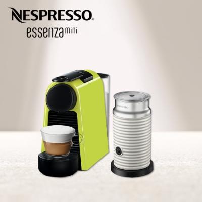 Nespresso 膠囊咖啡機 Essenza Mini 萊姆綠 Aeroccino3奶泡機(三色) 組合