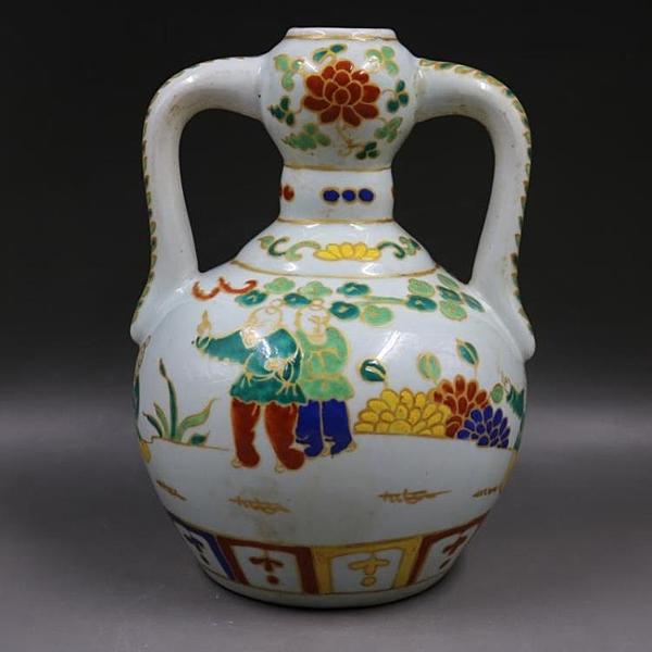 明宣德五彩人物如意瓶手工仿古家居裝飾瓷器擺件古董古玩老貨收藏1入