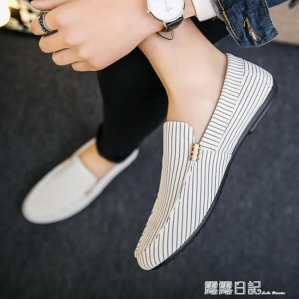 夏季豆豆鞋男士韓版潮流透氣懶人鞋白色男鞋社會一腳蹬老北京布鞋 露露日記