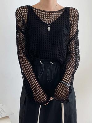 韓國空運 - Ground Net Knitwear Sleeveless SET 套裝
