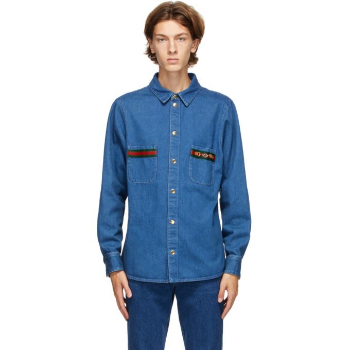 Gucci 蓝色 Web 石洗牛仔衬衫