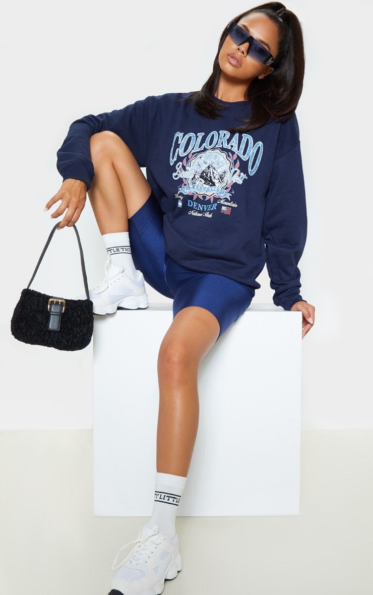 Navy Colorado Slogan Sweater