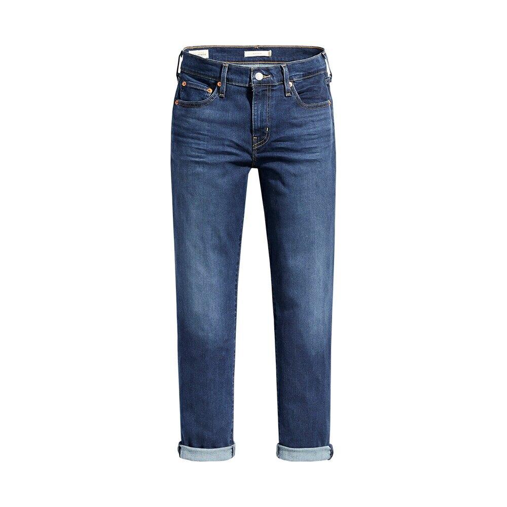 Levis 男友褲 中腰寬鬆版牛仔褲 / 深藍刷白 / Lyocell天絲棉 / 彈性布料-AC