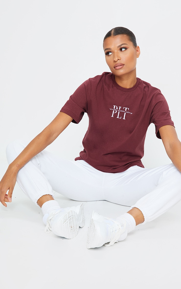 PRETTYLITTLETHING Rust Embroidered T Shirt