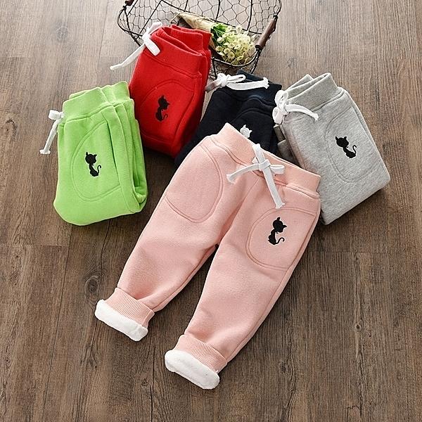 女童加絨長褲子男童兒童裝秋款外穿秋冬裝保暖加厚款棉運動褲子