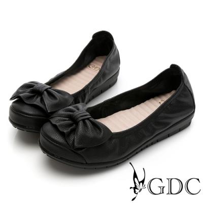 GDC-真皮可愛日系甜美蝴蝶結舒適軟底百搭平底鞋-黑色