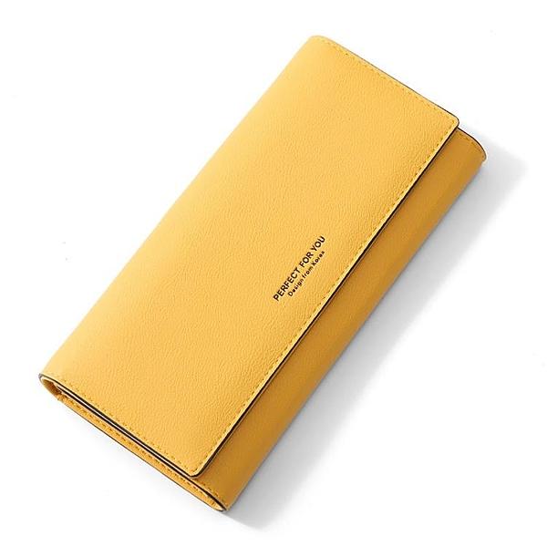 長夾 卡包黃色錢包招財手機包新款女士長款日韓版簡約時尚搭扣女式