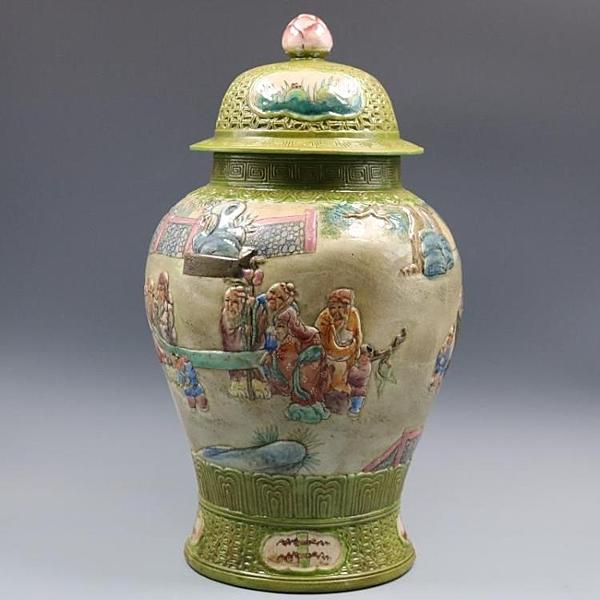 清乾隆浮雕刻粉彩人物將軍罐手繪仿古老貨瓷器家居擺件古董古玩1入