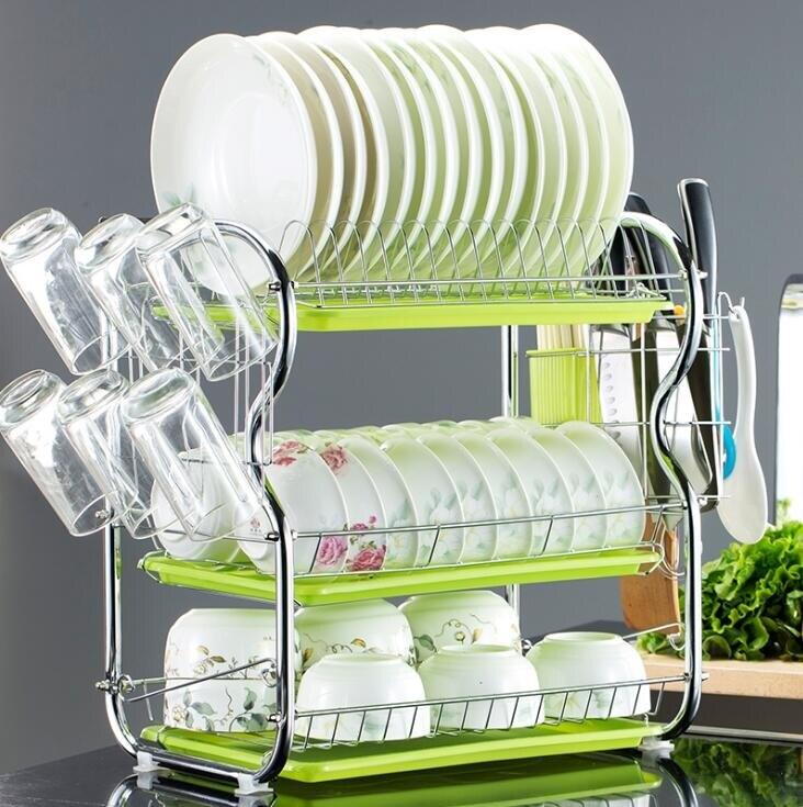 碗架  三層廚房置物架兩層瀝水碗碟架放碗筷瀝水架碗架收納架子碗盤用品【概念3C】