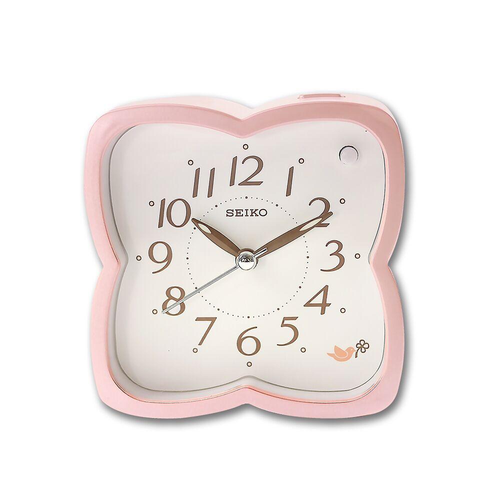 SEIKO 精工 / 櫻花造型 滑動式秒針 數字刻度 夜光照明 貪睡鬧鈴 指針鬧鐘 - 粉色 #QHP009P